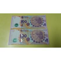 2 Billetes De 100 Pesos Evita Correlativos Sin Circular