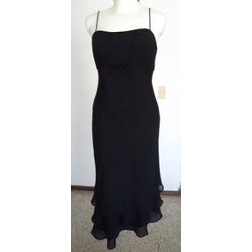 Vestido Negro Corte Princesa 3 Faldillas Talla 6 Clave Vt273