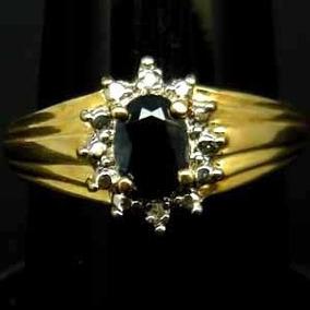 Anillo Zafiro Azul Baguette Oro #7.75 Vvs Plata 925 Ringking