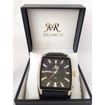 Relógio Masculino Marinus Couro Clássico Frente Grátis