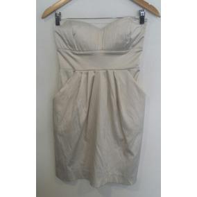 Vestido Strapless Manteca Rasado Ona Saez Talle M/l