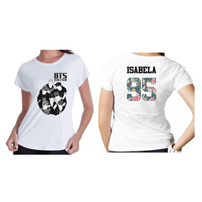 Camiseta Camisa Kpop Personalizada Grupo Bts Com Nome Floral