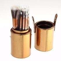 Kit Com 12 Pincéis De Maquiagem + Paleta De Contorno E Pó