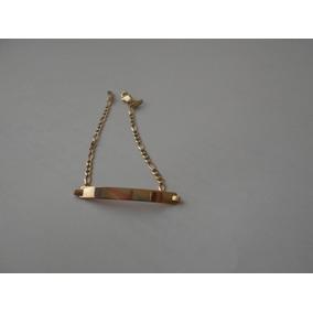 Esclava Con Placa Oro Florentino 16.5cms.x 4mm 10k