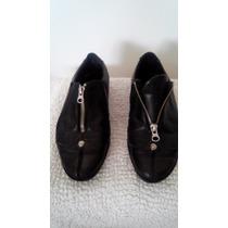Zapatillas Marca Prüne Cuero Negro Con Cierre Nro 37