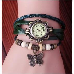 Relógio Pulseira Pingente Couro Vintage Feminino