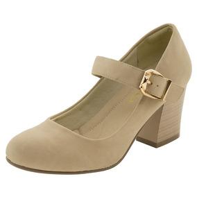 Sapato Feminino Salto Médio Bege Facinelli - 61901