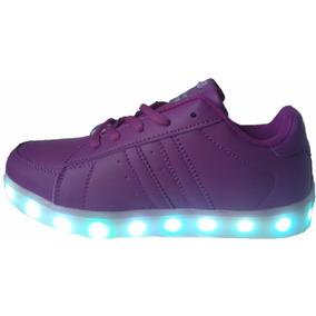 Zapatillas Lila Con Luces Led Niña Calzados Luz Led Usb