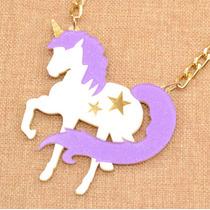 Collar Colgante De Unicornio Purpura Con Brillo Envió Gratis