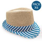 Sombrero Australiano Rafia Combinado Colores A Elección X 6