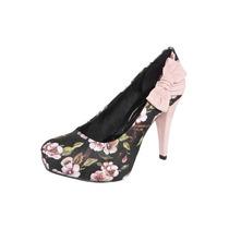 Sapato Scarpin Di Cristalli Preto Floral Laço Rosa + Brinde
