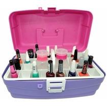 Caixa Estojo Manicure Rosa Azul Organizador Esmalte Unha Top