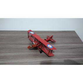 Miniatura Avião Vermelho 2 Lugares - Enfeite De Metal