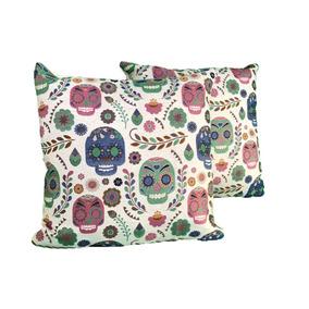 Set De 2 Cojines Calavera-decorativo Sugar Skull 45x45 -rosa