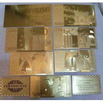 Coleção De Notas Banhadas A Ouro 24k - Frete Grátis E Nf