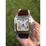 !!!reloj Cartier Santos 100xl Crono Oro Y Acero Regalado