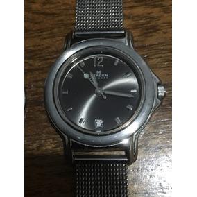 Reloj Skagen Denmark Dama Negro Con Acero Muy Bonito #177