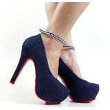 Sapato Scarpin Importado Feminino Salto Alto Jeans