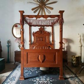 Cama Inglesa Medieval Antigua De Cedro