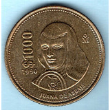 Moneda Mil Pesos 1990 Juana Asbaje Sin Circular C10