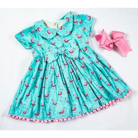 Vestido Infantil Com Estampa Flamingo