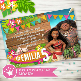 Kit Imprimible Moana Candybar Cumpleaños Invitaciones Deco
