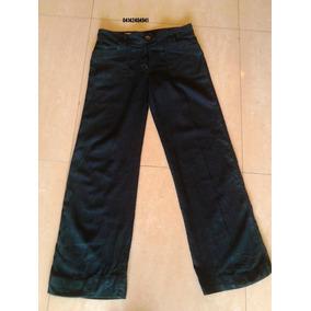 Pantalon Negro De Lino Casual Bota Recta Talla 10