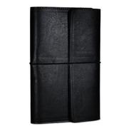 Bitacora Portagenda Con Cuaderno Estuche Cuero Negro Cuery