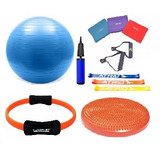 Kit Yoga Pilates C/ 11 Itens Bola, Thera Band Disco E Anel