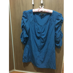 Blusa Chic De Seda Azul Da Marca Ann Taylor