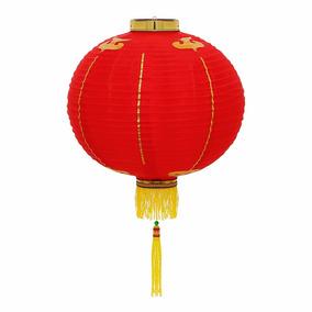 Luminária Oriental Japonesa Tecido 30 Cm Vermelha Couchin