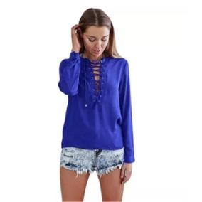 Blusa Lace Up Gasa Encaje Top Mujer Polera Camisa Casual
