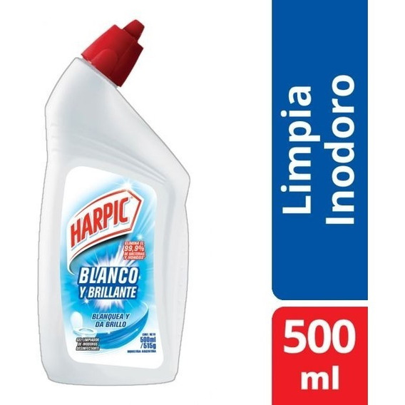 Limpia Inodoro Harpic Gel Desinfectante Blanquea/brillo 500m