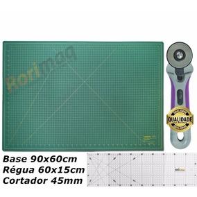 Kit Base De Corte 90cm Régua 60cm Cortador Patchwork 1ºlinha