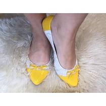 Sapatilhas Femininas Amarela E Dourada Linda Barata