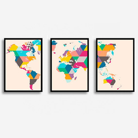 Conjunto Quadros Mapa Mundi Colorido Com Moldura E Vidro