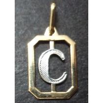 Pingente Letra C (carlos) = Duas Cores = Folheado A Ouro 18k