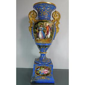 Jarrón Porcelana Tipo Sevres Francés Siglo 19 Pintado A Mano