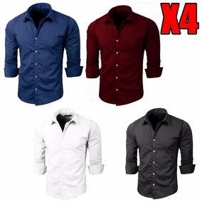 Pack X4 Camisas Entalladas Slim Fit Lisas Hombre Manga Larga