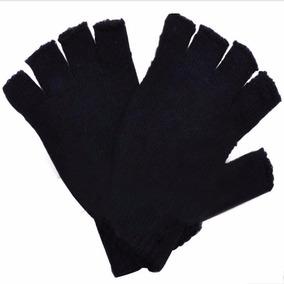 Guantes Medio Dedo Para Hombre Frío De Punto Color Negro !