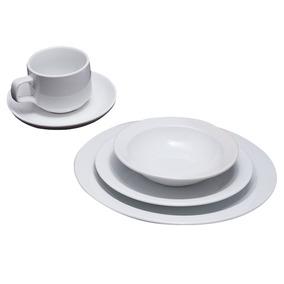 Juego Vajilla 20 Piezas Porcelana Blanco Soifer