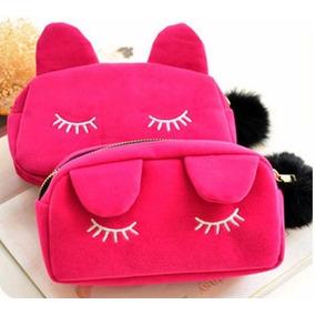 Necessaire Bolsa Feminina Maquiagem Acessorios Gatinho Gato