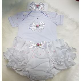 Conjunto 3 Pçs Para Bebê Body + Faxinha+ Calcinha Bunda Rica ca789227e1d