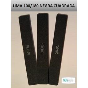 Una Lima 100/180 Cuadra Negra Para Uñas