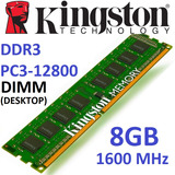 Memoria 8gb Ddr3 1600 Mhz Kingston Pc3-12800 Dimm Desktop Pc