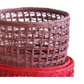 Canastos Redondos Colores Fibra De Papel 26x19 Mimbre Rattan