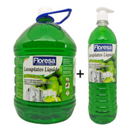 Jabón Liquido Loza Lavaplatos Floresa Galón + Dosificador