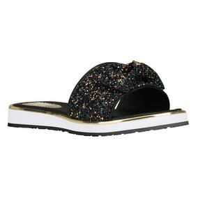Sandália Infantil Feminina Bibi Glitter Preto Flat Fashion