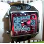 Relógio Masculino Quadrado Vermelho Analogico Digital Ohsen