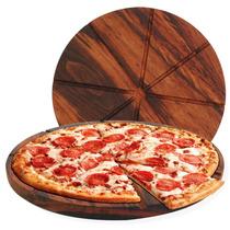 Tábua De Pizza Madeira Ø 40 X 2 Cm Gabarito 8 Pedaços